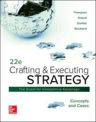 Solution Manual (Downloadable Files) for Crafting and Executing Strategy: Concepts and Cases, 22nd Edition, Arthur Thompson Jr, Margaret Peteraf, John Gamble, A. Strickland, ISBN10: 1260075109, ISBN13: 9781260075106