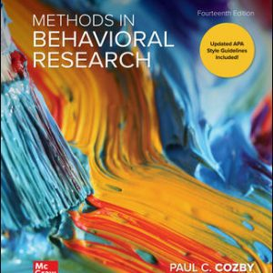 Test Bank (Downloadable files) For Methods in Behavioral Research 14th Edition By Paul Cozby,Scott Bates, ISBN10: 1260205584, ISBN13: 9781260205589